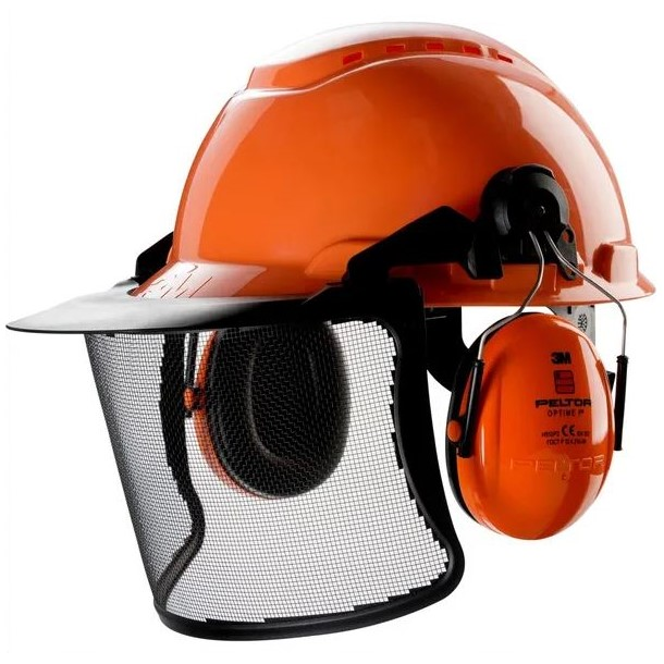Casco di sicurezza con visiera e cuffie