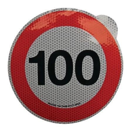 Cartello adesivo limite velocità 200mm 100 km h