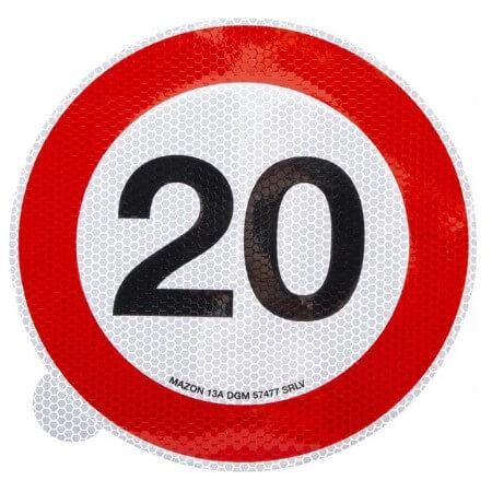 Cartello adesivo limite velocità 200mm 20 km h