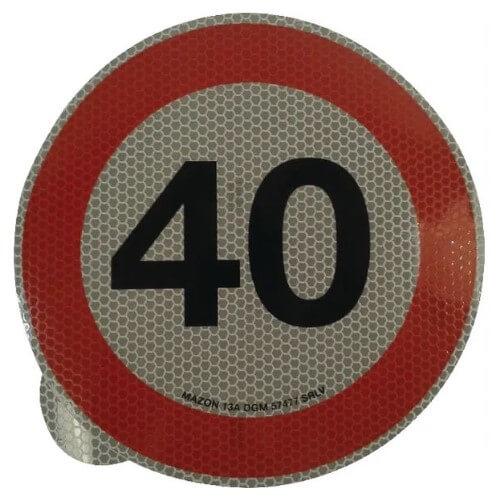 Cartello adesivo limite velocità 200mm 40 km h