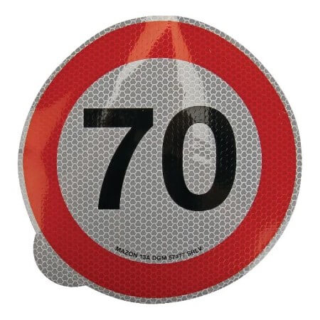 Cartello adesivo limite velocità 200mm 70 km h