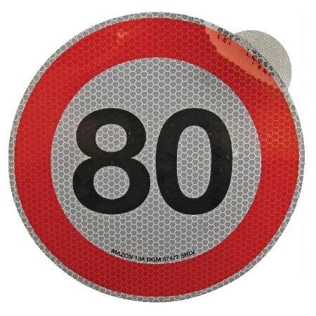 Cartello adesivo limite velocità 200mm 80 km h